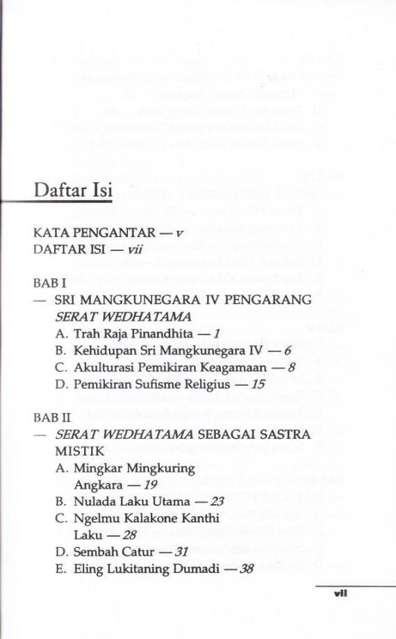 Daftar Isi 1 buku TAFSIR AJARAN SERAT WEDHATAMA karya Adityo Jatmiko