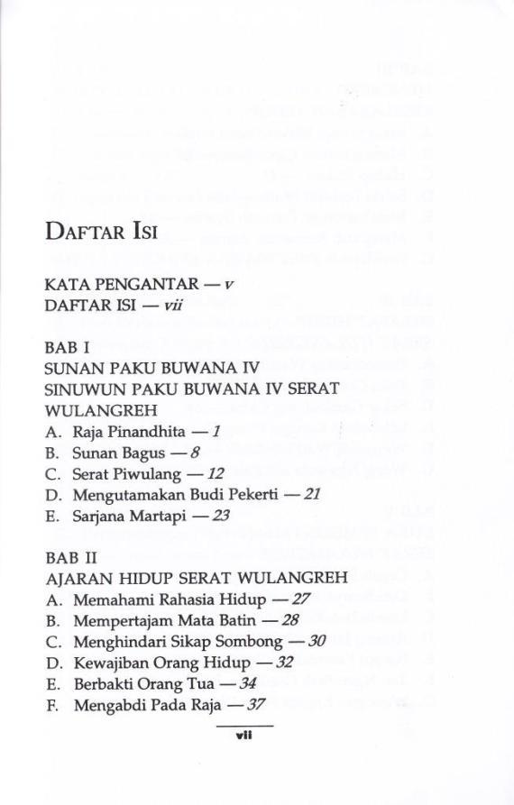 Daftar Isi TAFSIR AJARAN SERAT WULANGREH karya Andi Harsono.