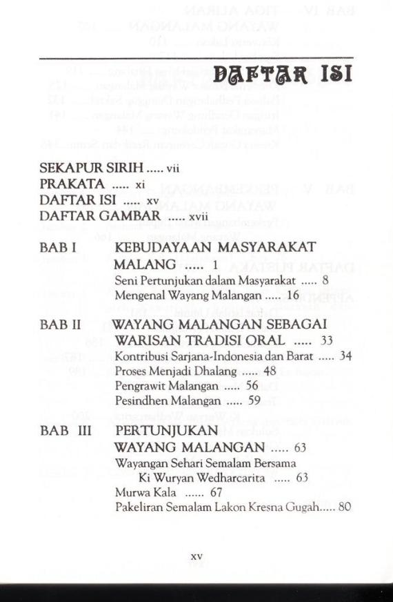 Daftar Isi buku WAYANG MALANGAN karya Suyanto