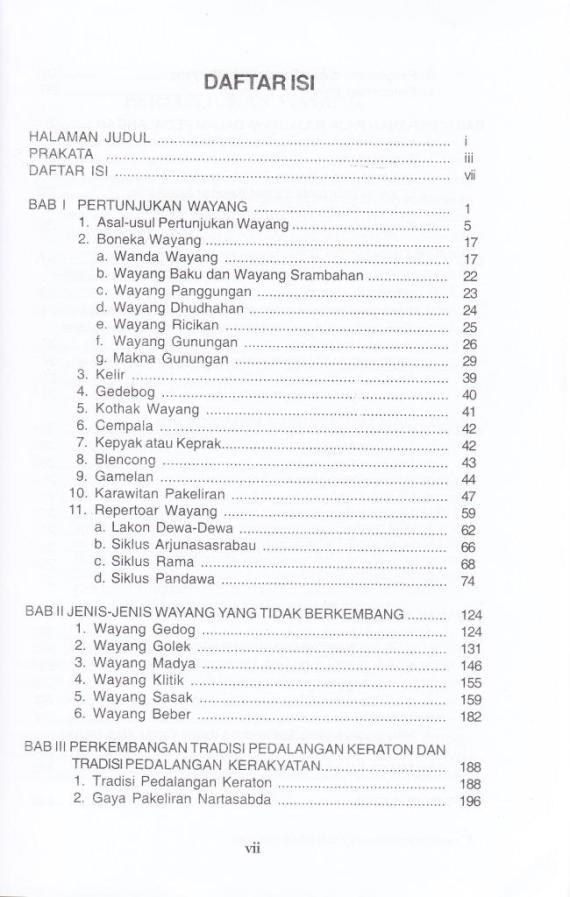 Daftar Isi buku WAYANG KULIT DAN PERKEMBANGANNYA karya Soetarno dan Sarwanto.