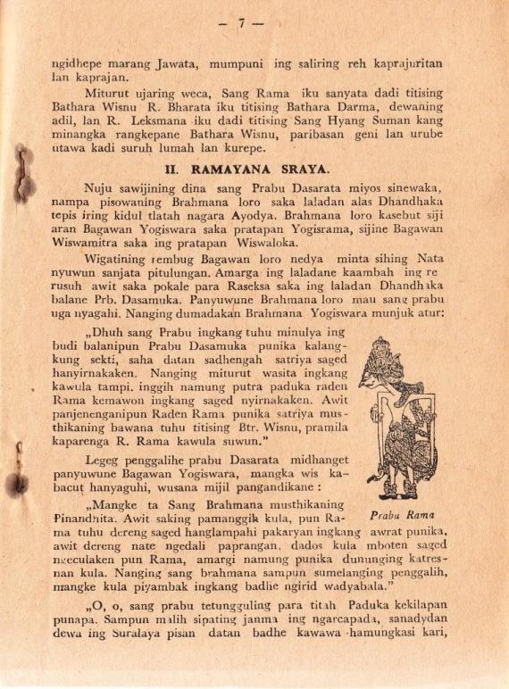 Halaman 7 buku PAKEM RAMAYANA karya Ki Slamet Soetarsa, penerbit Keluarga Soebarno Sala.