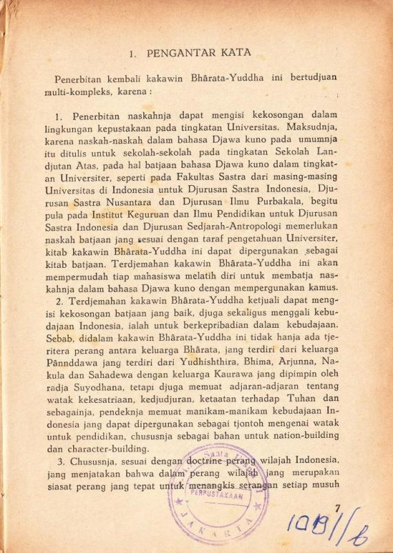 Pengantar 1 buku KAKAWIN BHARATA YUDDHA tulisan Soetjipto Wirjosuparto.