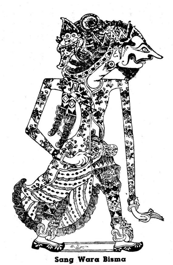 Gambar wayang kulit purwa resolusi tinggi SANG WARA BHISMA karya Darma Tjarita dari buku 1950-an.