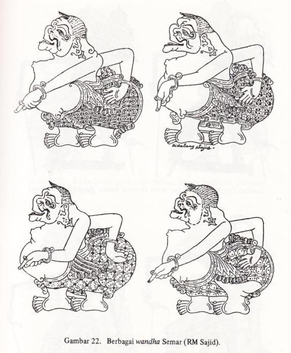 Gambar wayang kulit purwa SEMAR dalam empat wanda karya Sajid RM- Surakarta- 1950an.