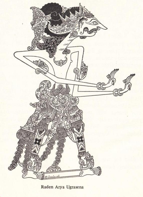 """Gambar wayang kulit purwa resolusi tinggi RADEN ARYA UGRASENA dari """" Serat Pedhalangan Ringgit Purwa jilid VII """" - Mangkunagara VII"""