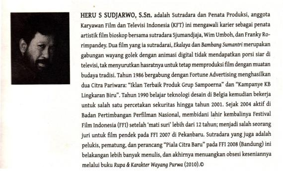 Profil penulis (dan penggambar wayang kulit purwa) Heru S Sudjarwo. Data dari bukunya RUPA DAN KARAKTER WAYANG PURWA terbitan Kakilangit Kencana.