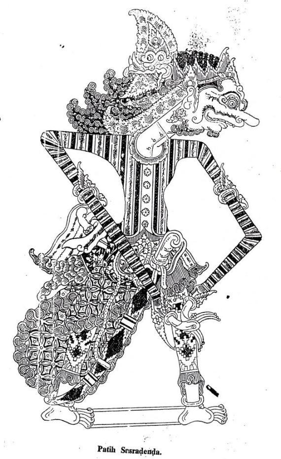 Gambar wayang kulit purwa Jawa- Patih Sasradenda- dari buku Tuntunan Padalangan V susunan Najawirangka alias Atmatjendana0 1958.
