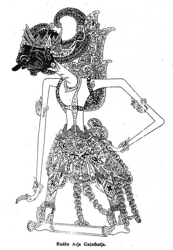 Gambar wayang kulit purwa Jawa Raden Arya Gatutkaca dari buku Tuntunan Padalangan Jilid 5 karangan Najawirangka alias Atmatjendana