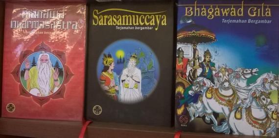 Sampul buku trilogi Bhagawad Gita, Sarasamuccaya dan Manawa Dharmasastra terbitan penerbit ESBE, Bali.
