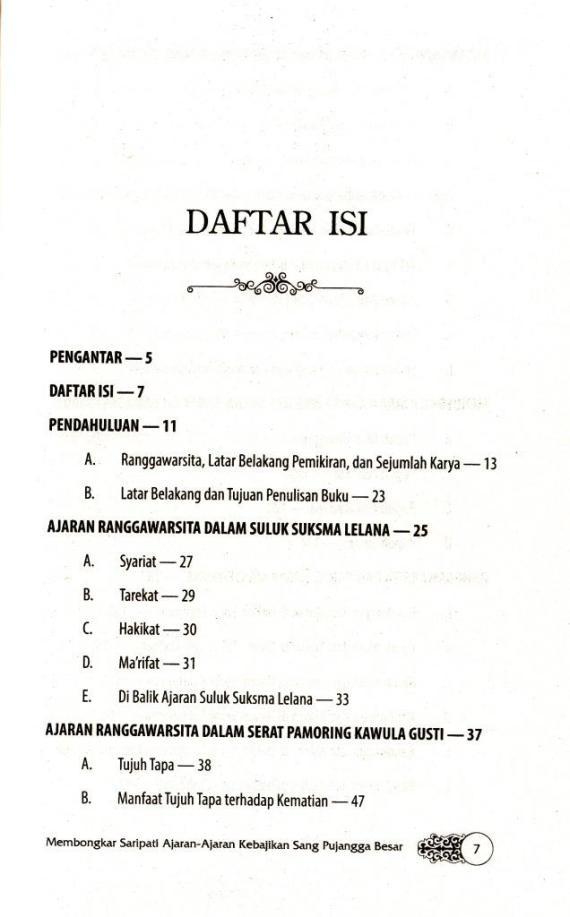 Daftar Isi 1 buku KITAB SAKTI AJARAN RANGGAWARSITA karya Sri Wintala Achmad - 2014