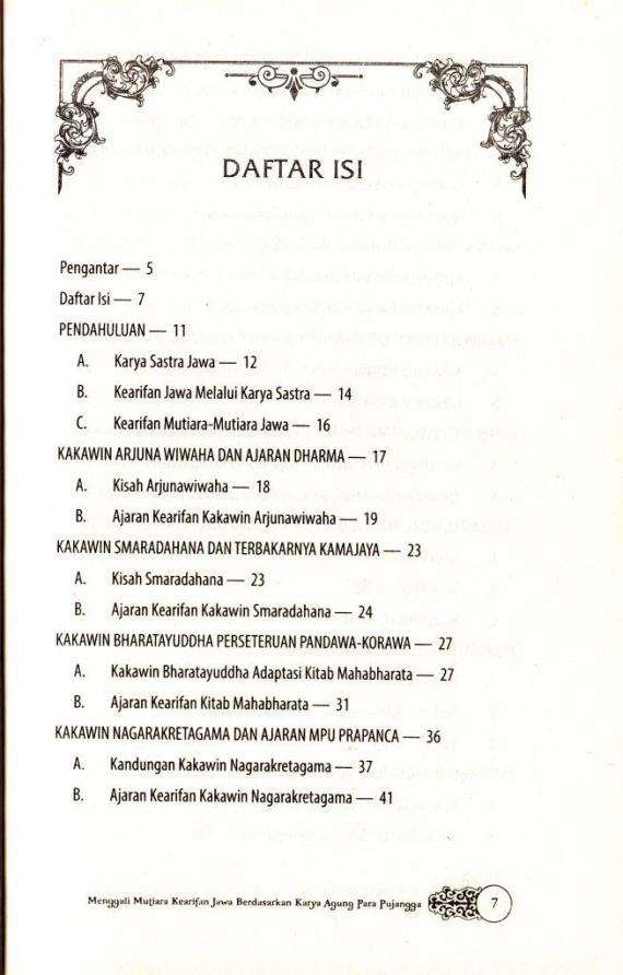 Daftar Isi 1 buku ENSIKLOPEDIA KEARIFAN JAWA karya Sri Wintala Achmad