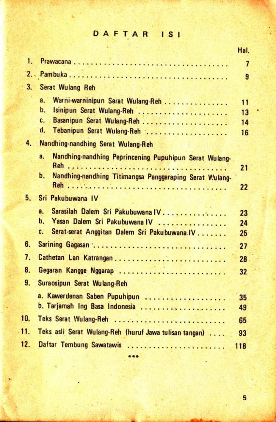 Daftar Isi buku SERAT WULANG REH dibahas oleh Darusuprapta.