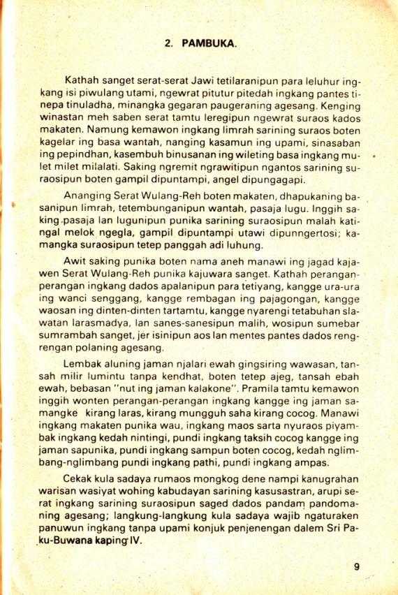 Pambuka di buku SERAT WULAH REH dibahas oleh Darusuprapta.